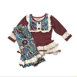Mustard Pie 9M Maroon and Lace outfit in GUC